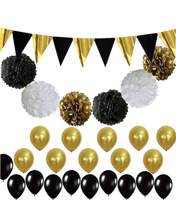 10 Sets Black And Gold Party Decorations Balloons Tissue Paper Pom Poms Foil