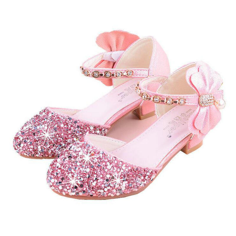 New Princess Children Shoes For Girls Pu Leather Bowknot High-heeled Sandals Girls Party Kids Sandals Dress Shoes Size 26-36