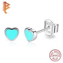 cdcf44c68 BELAWANG Trendy Macaron Blue&Pink Enamel Heart Stud Earrings for Women  Elegant 925 Sterling Silver Earrings Jewelry Accessories