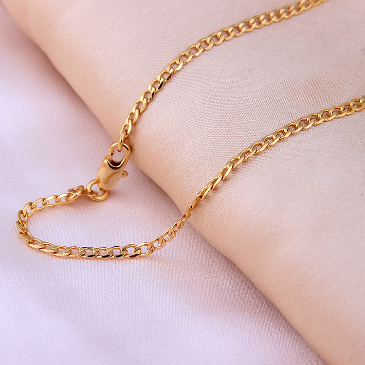 Gold-color Chains Necklace For Men chain length 16/18/20/22/24/26/28/30 inch 2mm Costome Accessories Jewelry wholesale