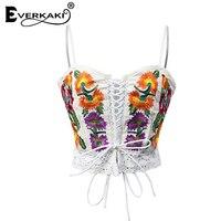Everkaki 2017 Sexy Embroidery Tops Summer Women Boho Tank Floral Pattern Spaghetti Strap Ladies Camisole Bralette