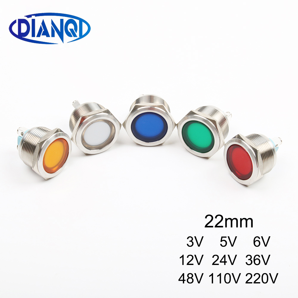 DIANQI LED Metal Indicator Light 22mm Flat Round Signal Lamp 3V 5V 6V 12V 24V 36V 48V 110V 220v Screw Illumination Red Big Lens