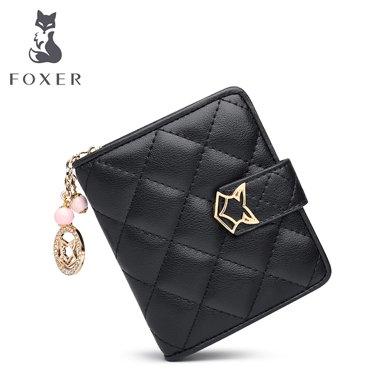 FOXER Brand Women Genuine Leather Short Wallet High Quality Girl's Wallets Fashion Female Wallet & Purse designer fashion women short wallet genuine leather 2 fold cowhide soft leather ladies wallets purse unisex high quality famous