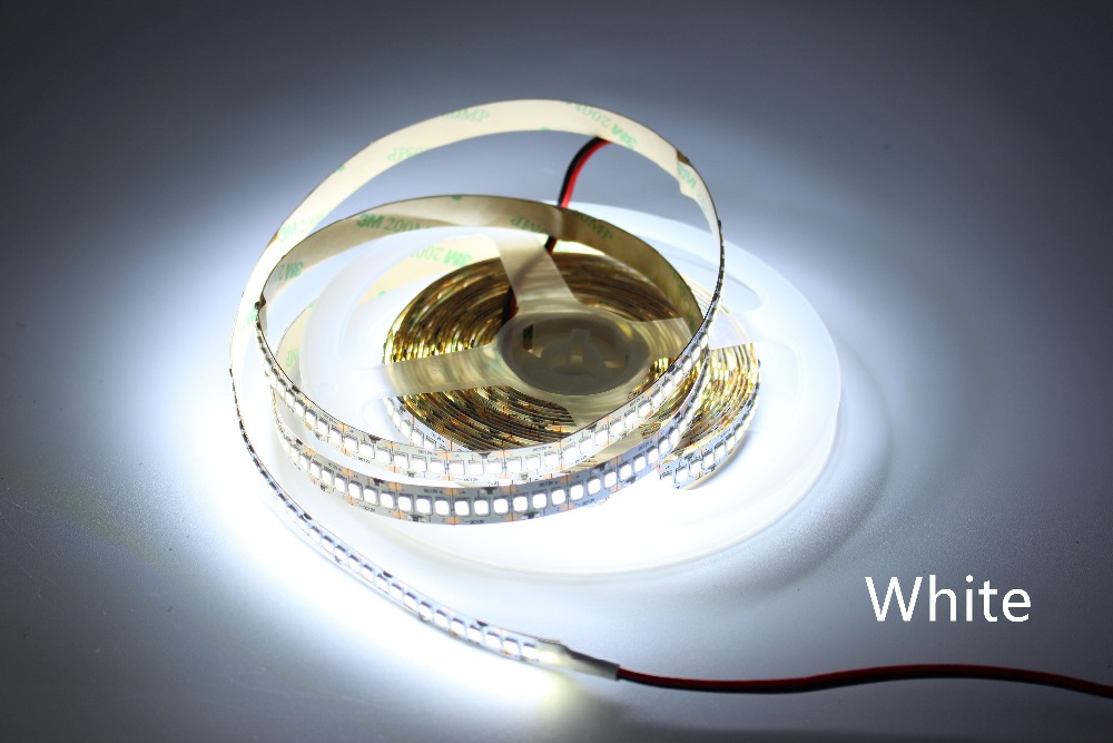 1m 2m 3m 4m 5m/lot 10mm PCB 2835 SMD 1200 LED Strip tape  DC12V ip20 Non waterproof Flexible Light 240 leds/m, White Warm White