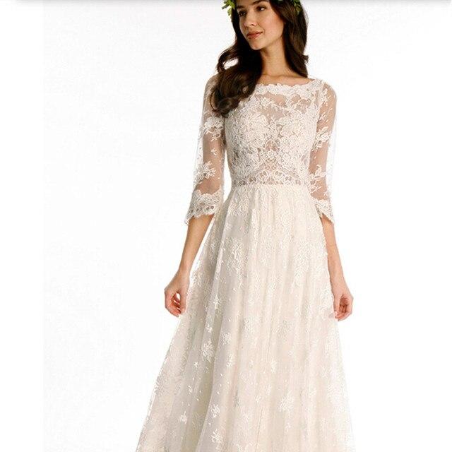 2017 Aline Bohemian Wedding Dress Lace Chiffon Bridal Gown Elegant