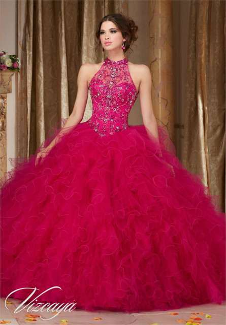 9af5d352da Barato Royal Blue Hot Pink Vestidos de Quinceañera 2016 vestido de Bola  Rebordeado Halter Mullido Desmontable
