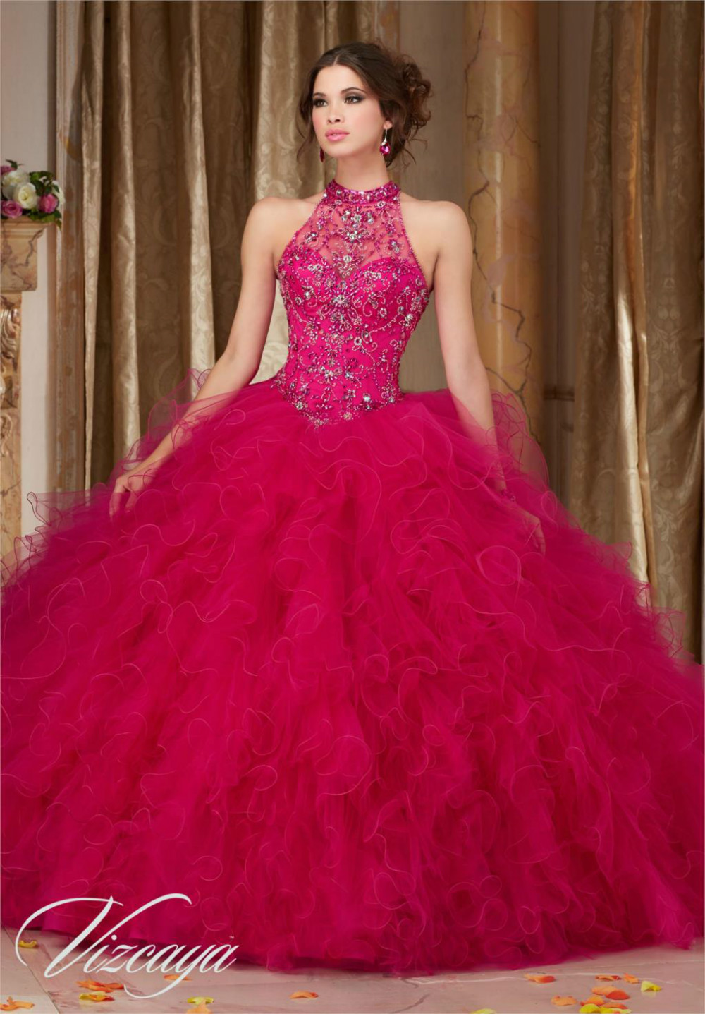Cheap Royal Blue Hot Pink Quinceanera Dresses 2016 Ball Gown Beaded ...
