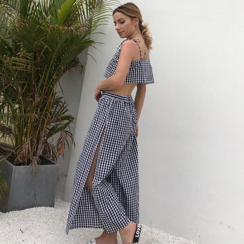 2 Piece Set Women Plaid Suit Sling Bandeau Vest Top + Split Fork Long Skirt Female Two Piece Set Full Length Pant AST001