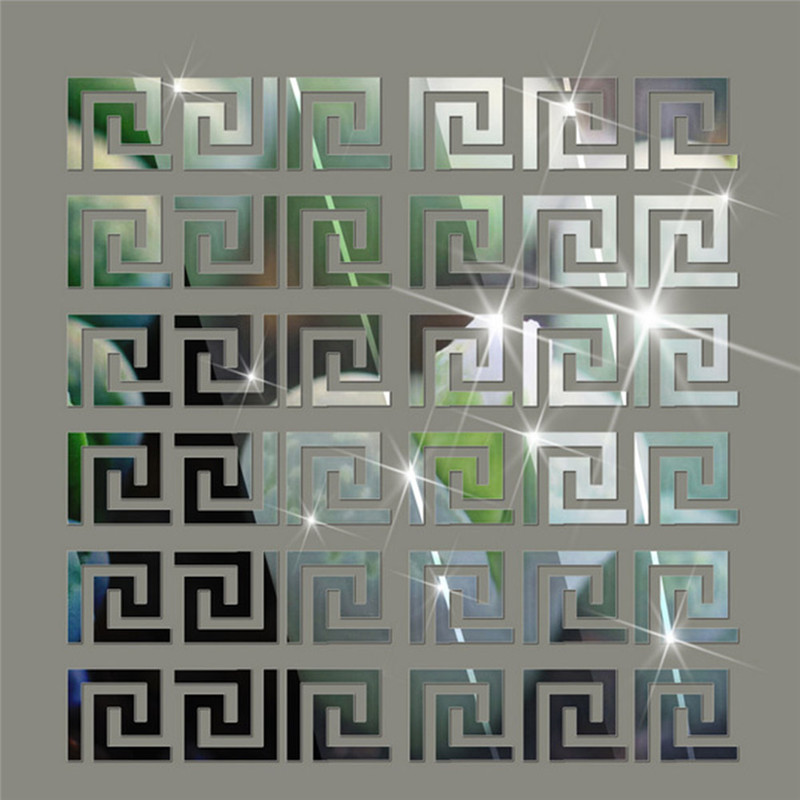 10pcs set DIY Geometric Pattern Acrylic Mirror Effect Sticker Wall Sticker Mirror Surface Wall Stickers Home Decoration 10cm in Wall Stickers from Home Garden