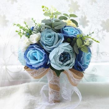 Wholesale holding flowers simulation flowers wedding bride holding flowers roses Free Shipping