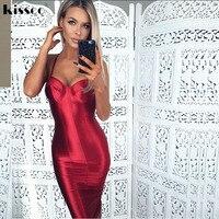 2017 רצועות ספגטי סקסיות Bodycon מפלגת שמלות גב הפתוח סאטן זהב אדום חבילה הדוקה ירכיים ללא שרוולים פיצול Midi Dress