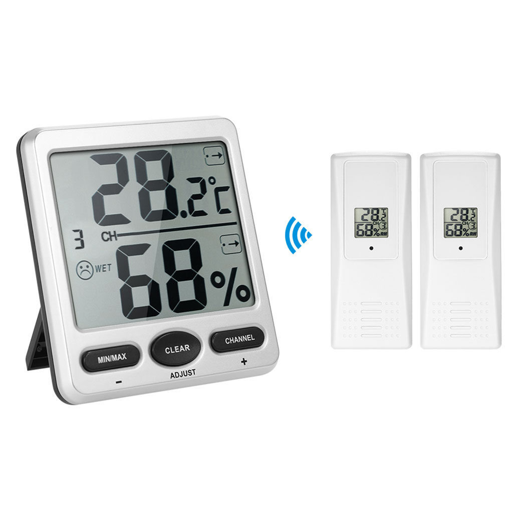 1 to 2 Thermometer Humidometer Console Receiver Wireless Digital Thermo-Hygrometer Remote Sensor Emitter Humidors нож кулинарный tescoma cosmo цвет синий черный длина лезвия 20 см