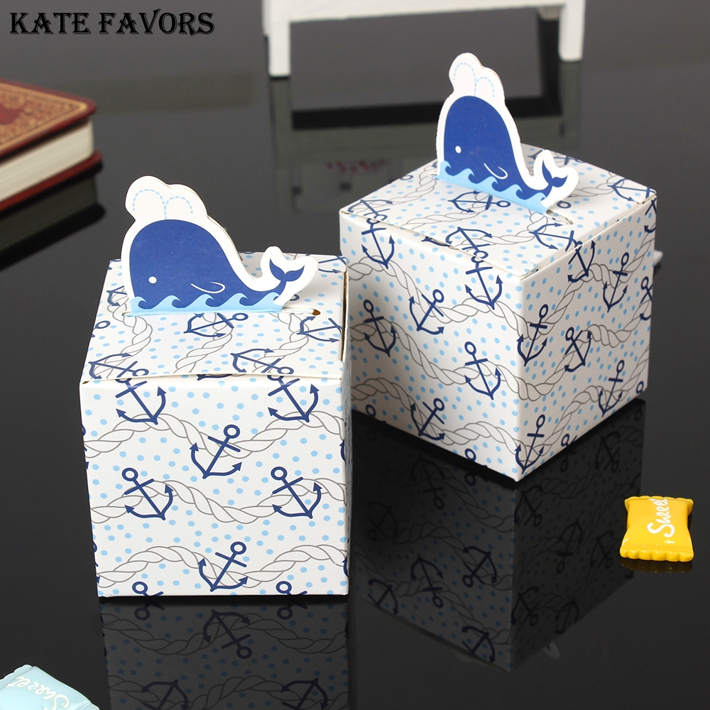Wholesale Whale Style Favors Candy Box Gift Box For Birthday Party Baby Shower Gifts Boxes Set Of 12