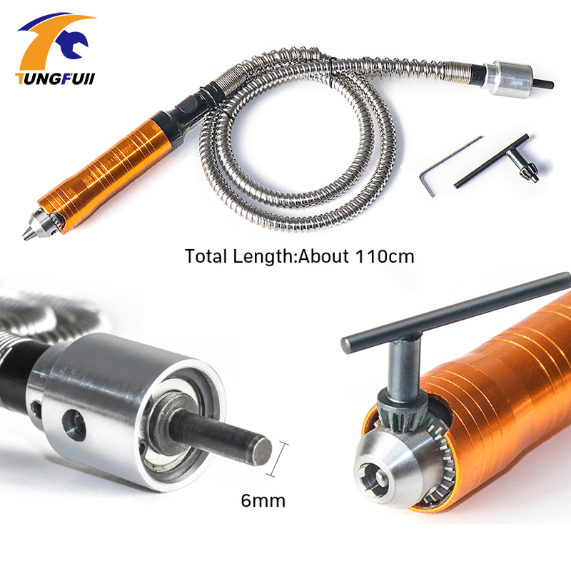 Tungfull Flexible Flex Dremel Rotary Tool Electric Grinder Flexible Shaft Extension Line 6mm Drill Chuck Engraving Machine Hose
