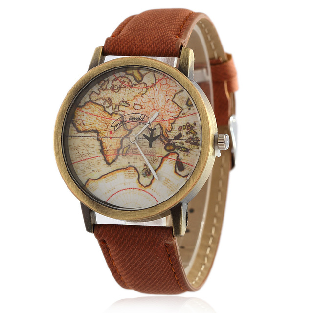 2017 New Fashion Global Travel By Plane Map Men Women Watches Casual Denim Quart