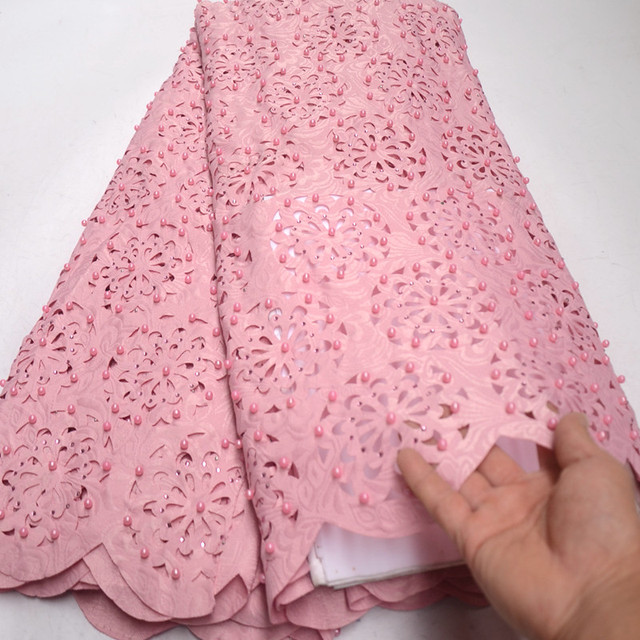 Gorgeous Baby Pink Korea Handcut Lace beaded African French lace fabric with allover cutout holes stones high quality RG631