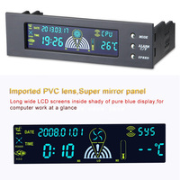 2016 New 5 25 Inch Bay Front LCD Panel 3 Fan Speed Controller CPU Temperature Sensor