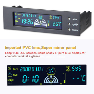 5.25 inch Computer Fan Controller PC Desktop Front Panel 3 CPU Temperature Sensor LCD Digital Display Fan Speed Controller new