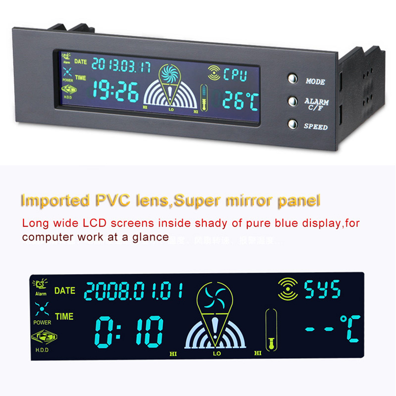 5,25 pulgadas ventilador de la computadora controlador de PC de escritorio Panel frontal 3 CPU Sensor de temperatura LCD pantalla Digital controlador de velocidad de ventilador