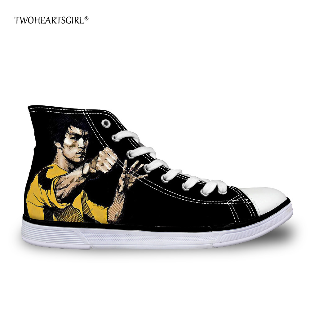 Twoheartsgirl Cool Printing Bruce Lee High Top Canvas Shoes Classic - Kasut lelaki