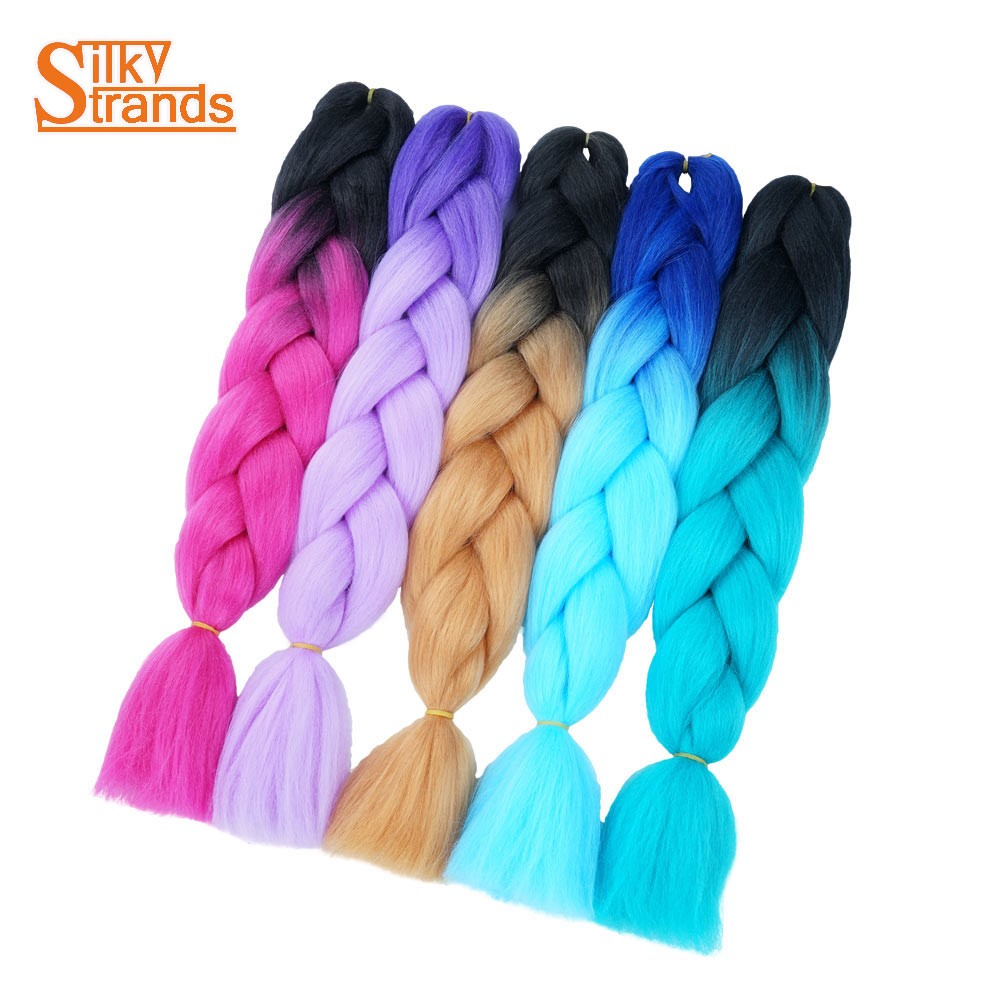 Hair Extensions & Wigs Silky Strands Ombre High Temperature Fiber Synthetic Jumbo Braiding Hair For Box Crochet Braids Hair Extensions 24inch 100g Hair Braids