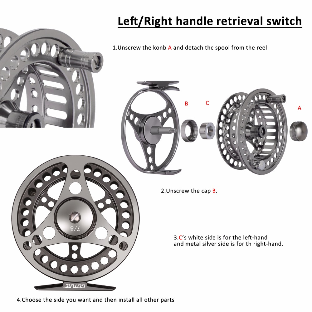 Goture CNC Machine Cut Fly Fishing Reel 3/4 5/6 7/8 9/10 Խոշոր - Ձկնորսություն - Լուսանկար 4