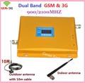Pantalla LCD! 65dbi GSM 3G Repetidor de Doble Banda Celular Amplificador de Señal 2G 3G WCDMA GSM Móvil de la Señal Booster 900/2100 Amplificador