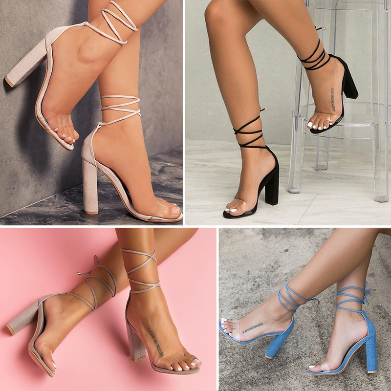 Europe 2019 Summer New Women Sandals High-heel  Stripper Heels Clear Heels  Ankle Strap Fashion Sexy Shoes Woman Plus Size 34-43 high heels