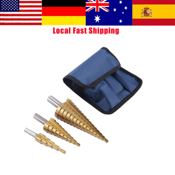 цена на NEW 3Pcs/set Step HSS Steel 4241 Cone Titanium Coated Drill Bits Tool Set Hole Cutter 4-12/20/32mm