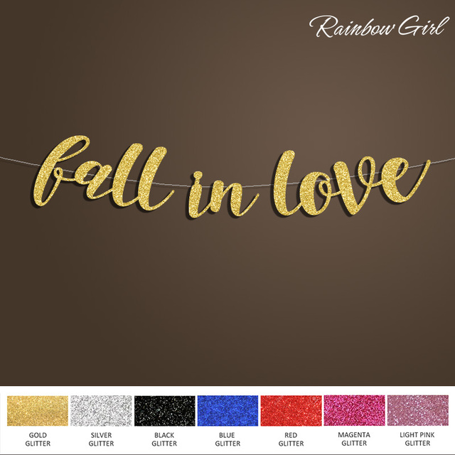 fall in love banner bridal shower sign backdrop anniversary gold