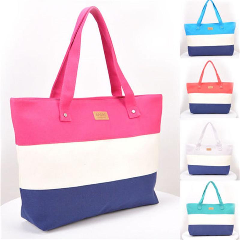 2017 New Mujer Summer Messenger Bag Beach Handbag Bags Brand Totes Women Ladies Stripes Canvas Shoulder Bag Drop Shipping N508 2