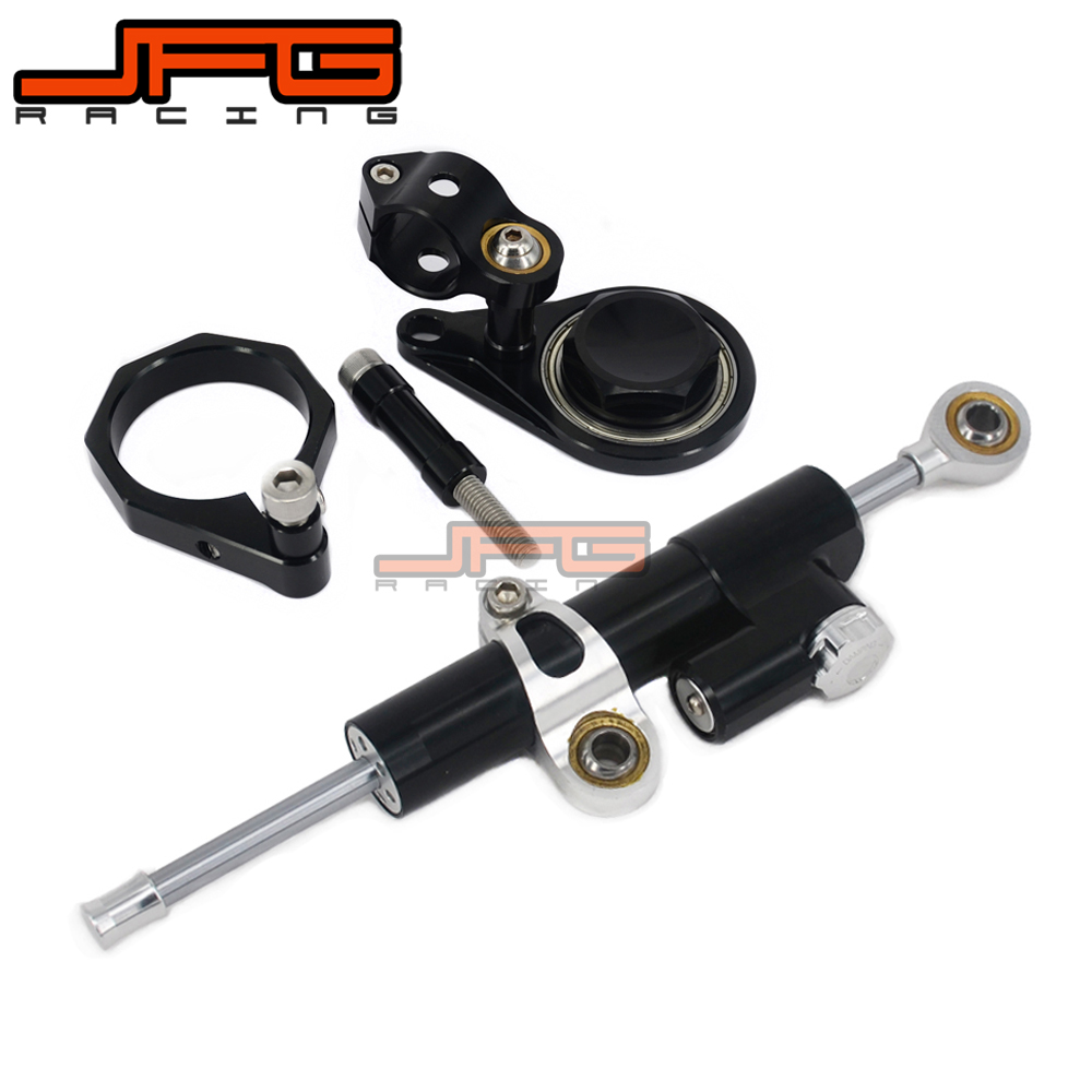 CNC Steering Damper Stabilizer Linear Reversed Safety Control & Adapter Bracket For GSXR600 GSX600R 06-10 GSXR1000 GSX1000R 0708 cnc steering damper stabilizer linear reversed safety control & adapter bracket for honda cb400 cb 400 vtec 1999 2000 2001 2012
