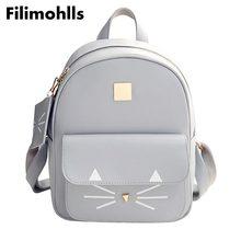 Для женщин кот Школьные сумки для девочек-подростков мешки детей рюкзак мешок Лидер продаж Кот Печать Рюкзак из искусственной кожи мини-рюкзаки F-40