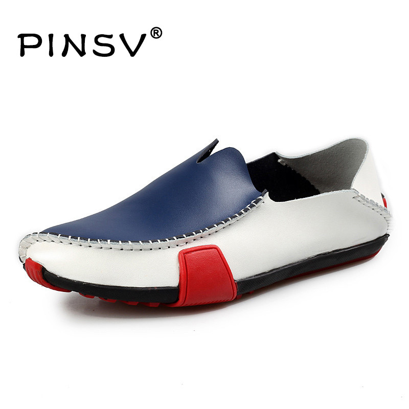 PINSV Moccasins Mens Shoes Autumn Driving Casual Shoes Men Italian Loafers Slip On Leather Shoes Mens Loafers Size 38-47 desai brand italian style full grain leather crocodile design men loafers comfortable slip on moccasin driving shoes size 38 43
