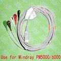 Совместим с 12pin Mindray PM5000/6000 и T5  T6  T8 ECG машиной цельный 5 свинцовый кабель и защелкивающийся leadwire  IEC или AHA.