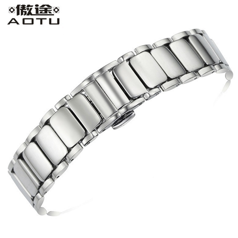 Ladies Stainless Steel Watchbands For Tissot 1853 T009 Women Top Quality Watch Band 17mm Metal Watch Strap For Brand Watches genuine leather watchbands for tissot mido lv dior for 1853 t050 waterproof men women buckle strap watch strap fits all brand