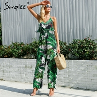 Simplee Ruffle Leaf Print Sexy Jumpsuit Boho Green Rompers Women Jumpsuit 2018 Elegant Chiffon Summer Jumpsuit