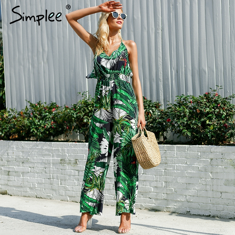 Simplee Ruffle Leaf print sexy jumpsuit Boho green rompers women jumpsuit 2018 Elegant chiffon summer jumpsuit