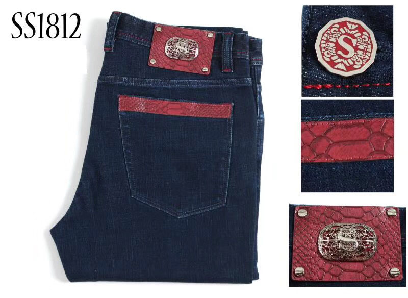 BILLIONAIRE TACE&SHARK Jeans Men 2018 New Style Commerce Casual Embroidery Pattern Leather Pocket Clothing Free Shipping