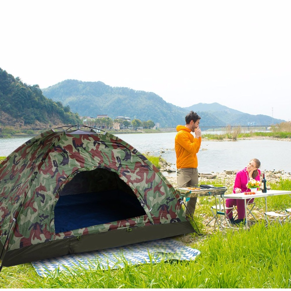 Outdoor Portable Single Layer Camping Tent Camouflage 2 Person Waterproof Lightweight Beach Fishing Hunting Tent Wigwam image