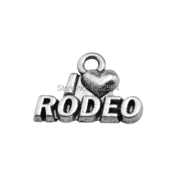 Zinc Alloy Antique Silver Plated I Love Rodeo Letter