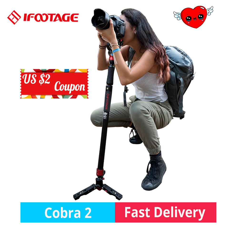 IFOOTAGE COBRA 2 monopod professional strong Carbon Fiber/Aluminum DSLR camera Video Monopod Tripod support with fluid head