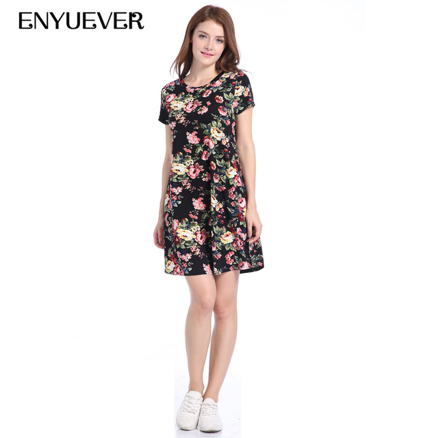 aa49be75c0 Enyuever Floral Print Dresses Clothes Women Summer Dress Casual Mini Vintage  50s 60s Elegant Tunic Short Sleeve Vestidos Mujer
