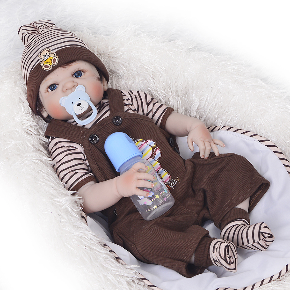 Free Shipping 23''57 cm Lifelike Reborn Dolls Real Touch Full Silicone Vinyl Boy Baby Wig Hair Dolls Kids Xmas Birthday Gift ultra mini screen free 3 0 mega pixels cmos motion detection video camera micro sd tf slot