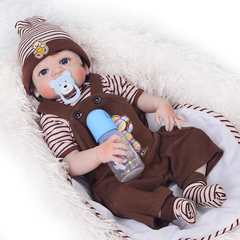 """Frete Grátis 23""""57 cm Lifelike Bonecas Reborn Menino Do Bebê Peruca de Cabelo Real Toque de Vinil Silicone Cheio Bonecas Crianças Natal Aniversário presente"""
