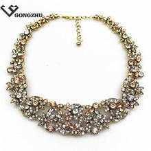 Fashion Flowers collar bib Necklaces & Pendants Crystal Rose Pendant statement choker Necklaces for women