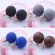 2017 New Fashion jewelry double side crystal 16MM pearl Frosted matte stud earring gift for women girl mix color E2657