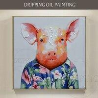 Lustige Design Künstler handbemalte Mode Piggy Tragen Blumenhemd Ölgemälde auf Leinwand Lustige Schwein Ölgemälde für Wand-dekor