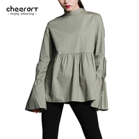Cheerart New 2017 Women Long Flare Sleeve Stand Collar Cotton Green Ruffle Blouse White Black Pleated Ruffle Top Loose Clothing