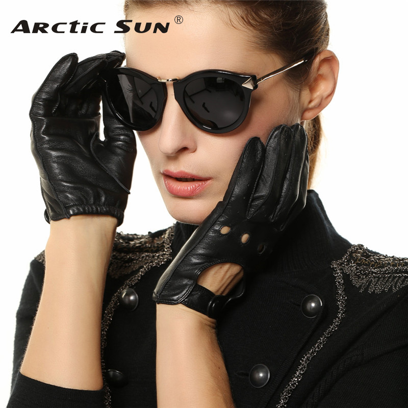 Fashion Women Sheepskin Gloves 2018 NEW Genuine Leather Thin Breathable Elegant Lady Five Fingers Driving Glove L117W